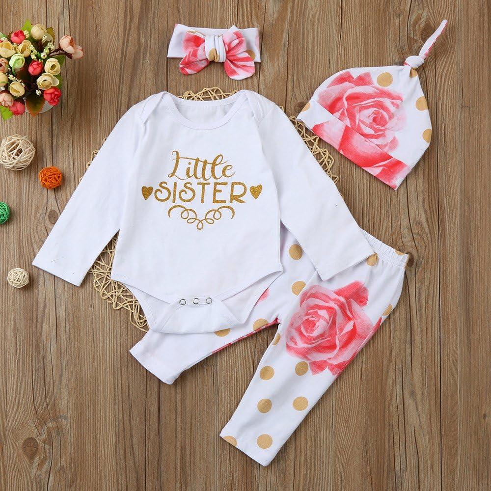 VEKDONE Newborn Infant Baby Girl Letter Romper Tops+Floral Pants Hat 4pcs Clothes Set