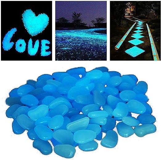 StillCool - Piedras luminosas (100 unidades, multicolores), azul: Amazon.es: Jardín