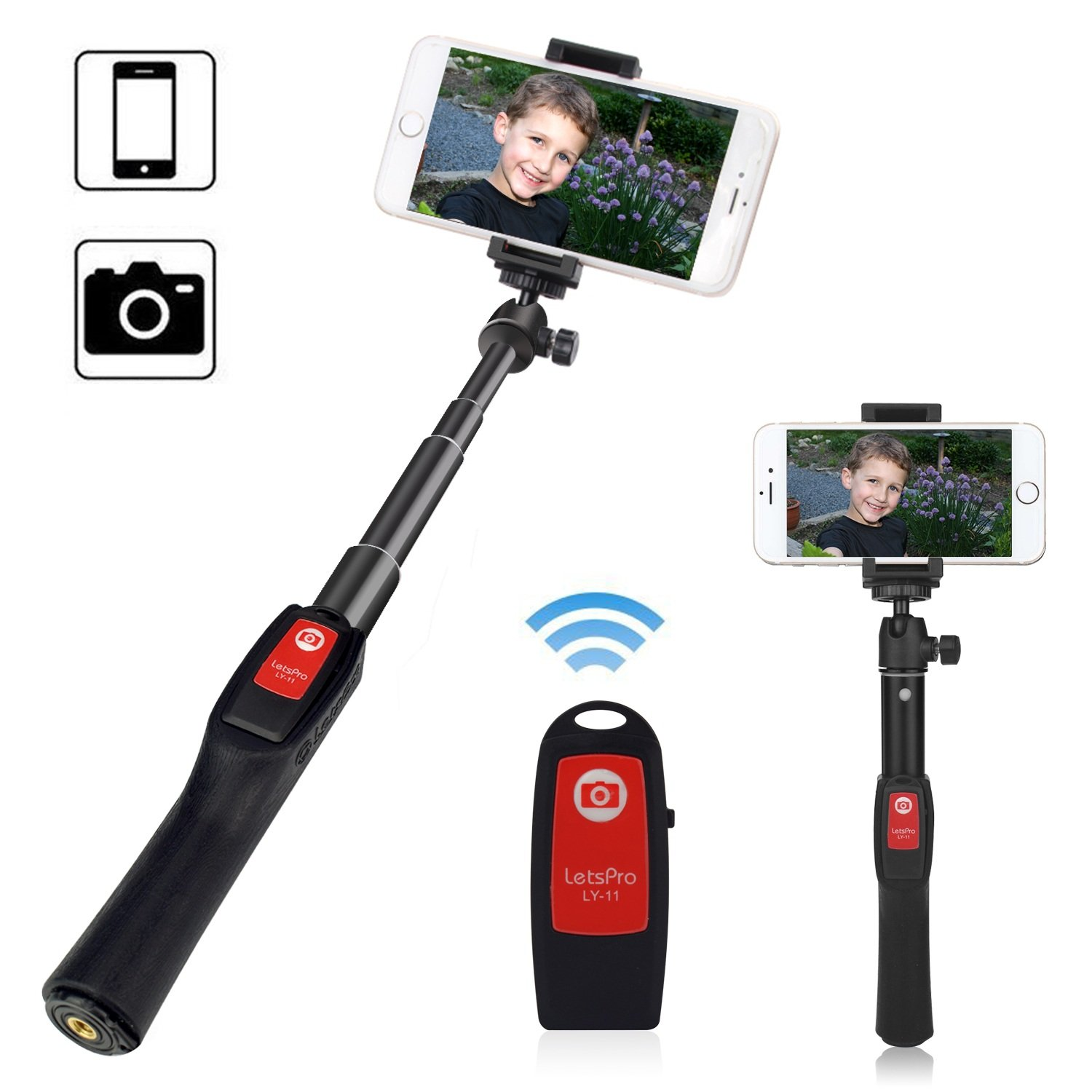 AZFUNN Cellphone Selfie Stick, Handheld Telescopic Monopod with Rechargeable Bluetooth Remote & Phone Clamp for iPhone8/7/6/6Plus, Samsung S8/S7, Gopro Hero 5, more Smartphone Action Camera (BLACK)
