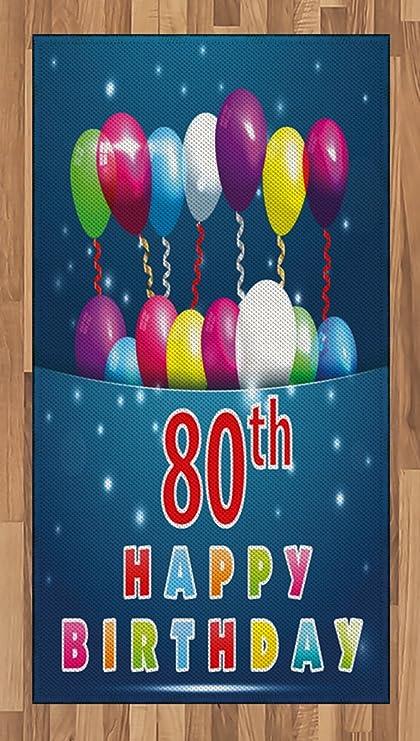 Amazon Ambesonne 80th Birthday Area Rug Happy Birthday Quote