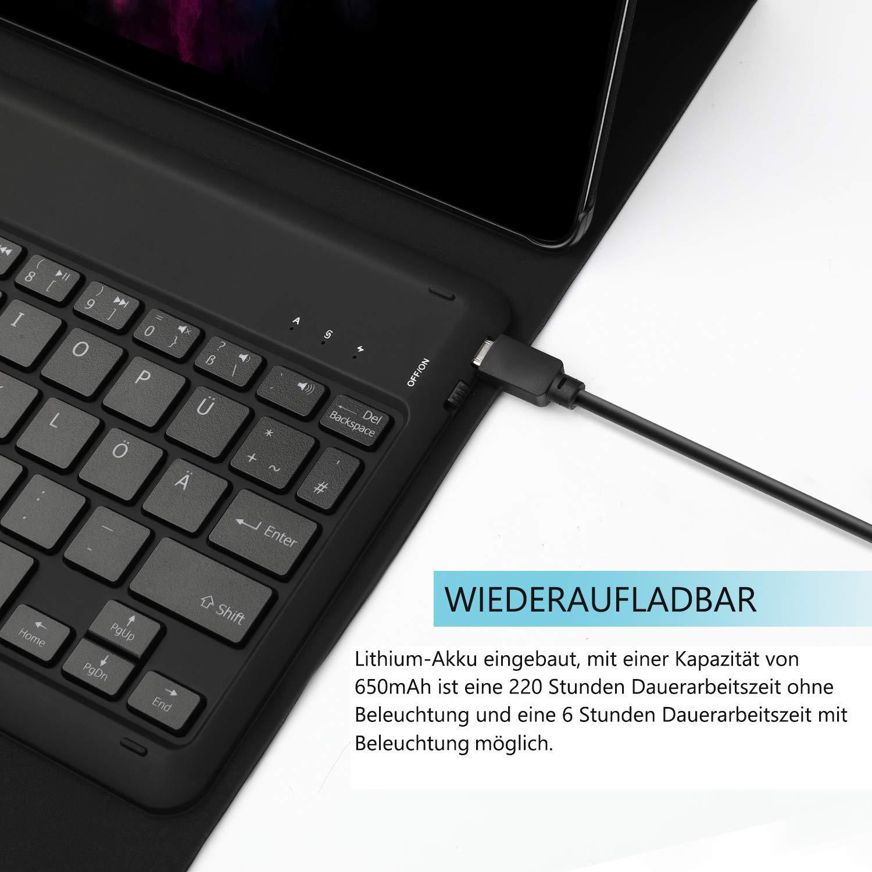 wiederaufladbar beleuchtet mit 7 Farben Backlight QWERTZ Bluetooth Tastatur mit Sch/ützh/ülle f/ür Samsung Tab A 10.1 T515//T510 Jelly Comb Samsung Galaxy Tab A 10.1 2019 Tastatur H/ülle Schwarz
