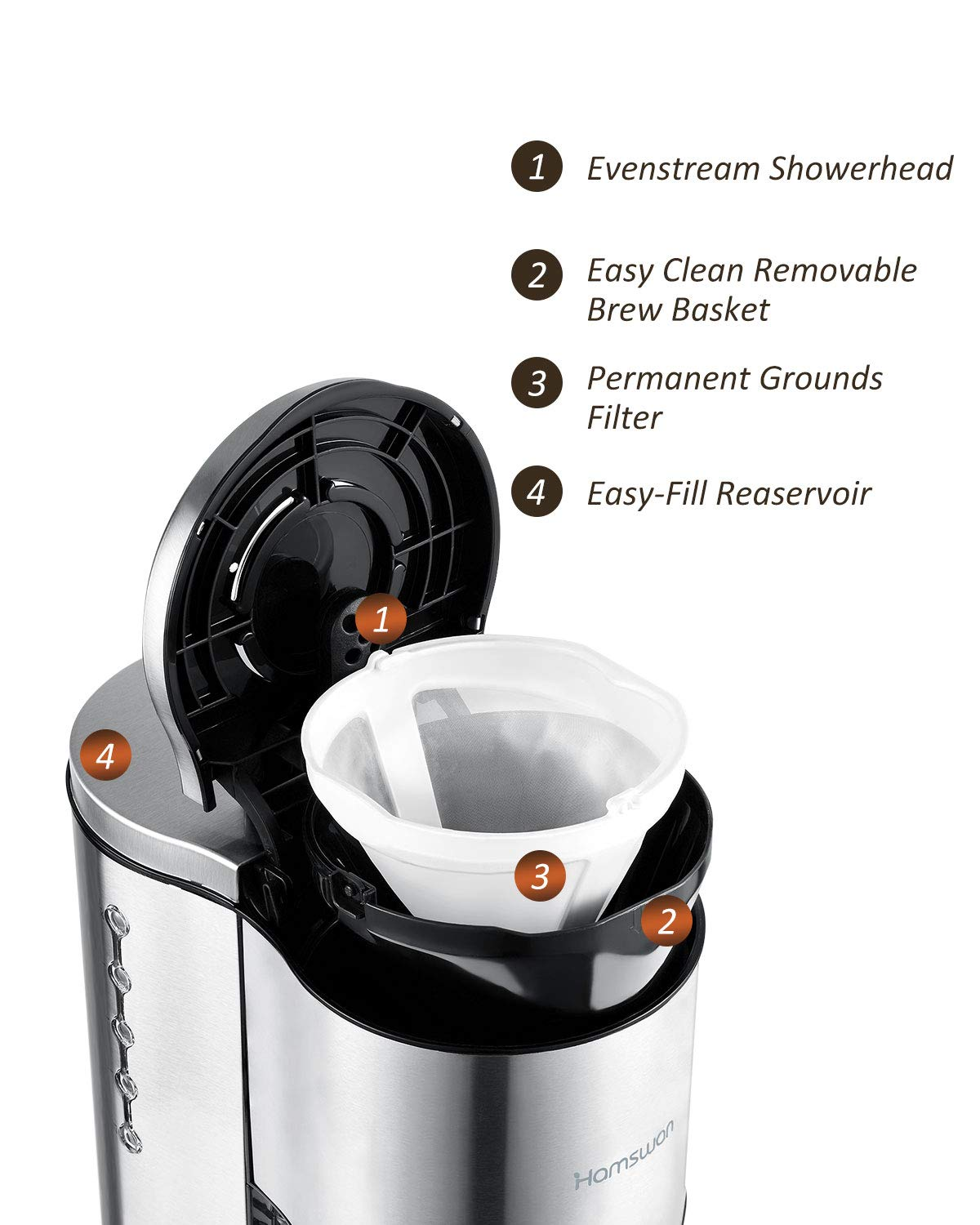 Drip Coffee Maker, HAMSWAN AD-103 Stainless Steel Coffee Maker Coffee Pot, Small 10 Cup Coffee Machine with Glass Thermal Carafe, Insulated, Keep Warm, Automatic Shut Off for Single Serve & House Use by HAMSWAN (Image #4)