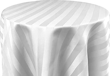 Ordinaire Bright Settings 70 X 144 Inch OVAL Tablecloth, Polystripe   ULTRA WIDE,  White