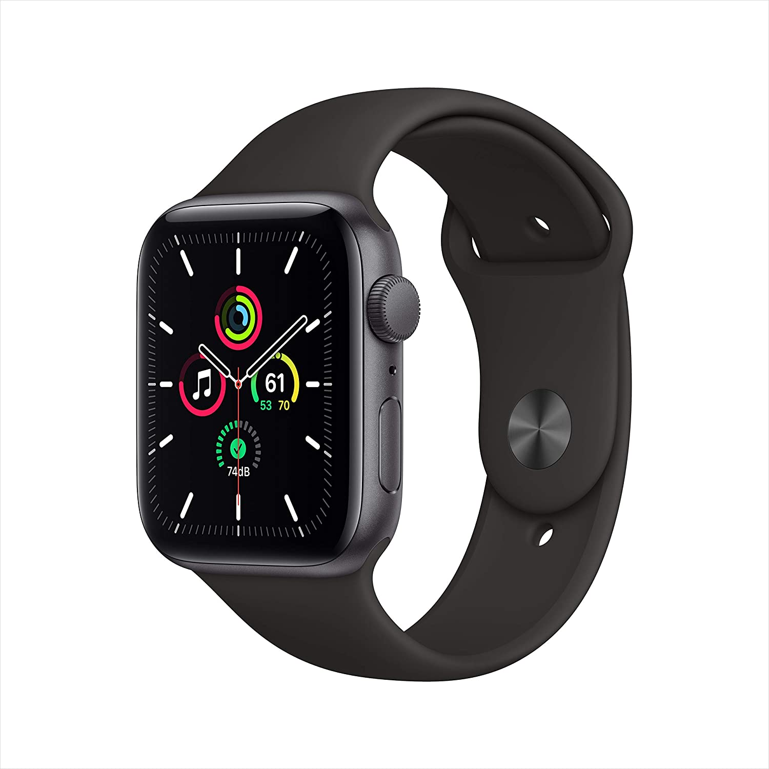 New Apple Watch SE (GPS, 44mm) - Space Gray Aluminum Case with Black Sport Band (Renewed)