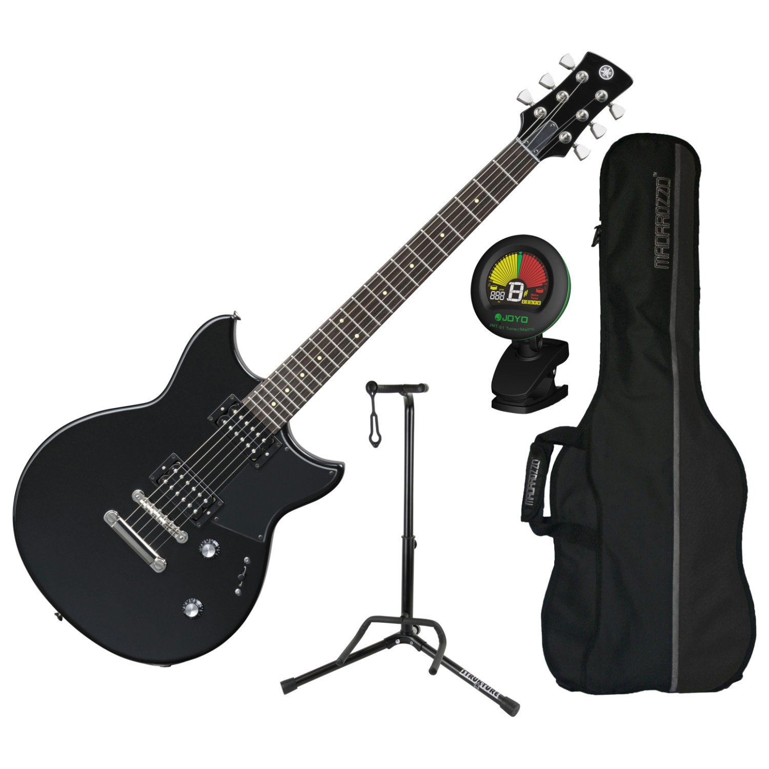 Amazon.com: Yamaha Revstar RS320 BST Double-Cutaway Nato Body Electric Guitar (Black Steel) w/ Gig Bag, Tuner, and Stand: Musical Instruments