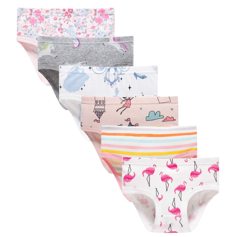 Finihen Girls6-Pack Soft Cotton Underwear Bring Cool Comfort Toddler Briefs