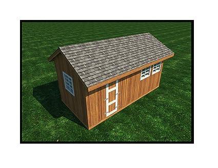 Garden Storage Shed Plans DIY Gable Roof Design Backyard Utility House 10u0027  X ...