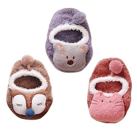 Happy Cherry - Calcetines Antideslizante para Bebé Niños Niñas Zapatillas de Casa de Invierno Anti slip
