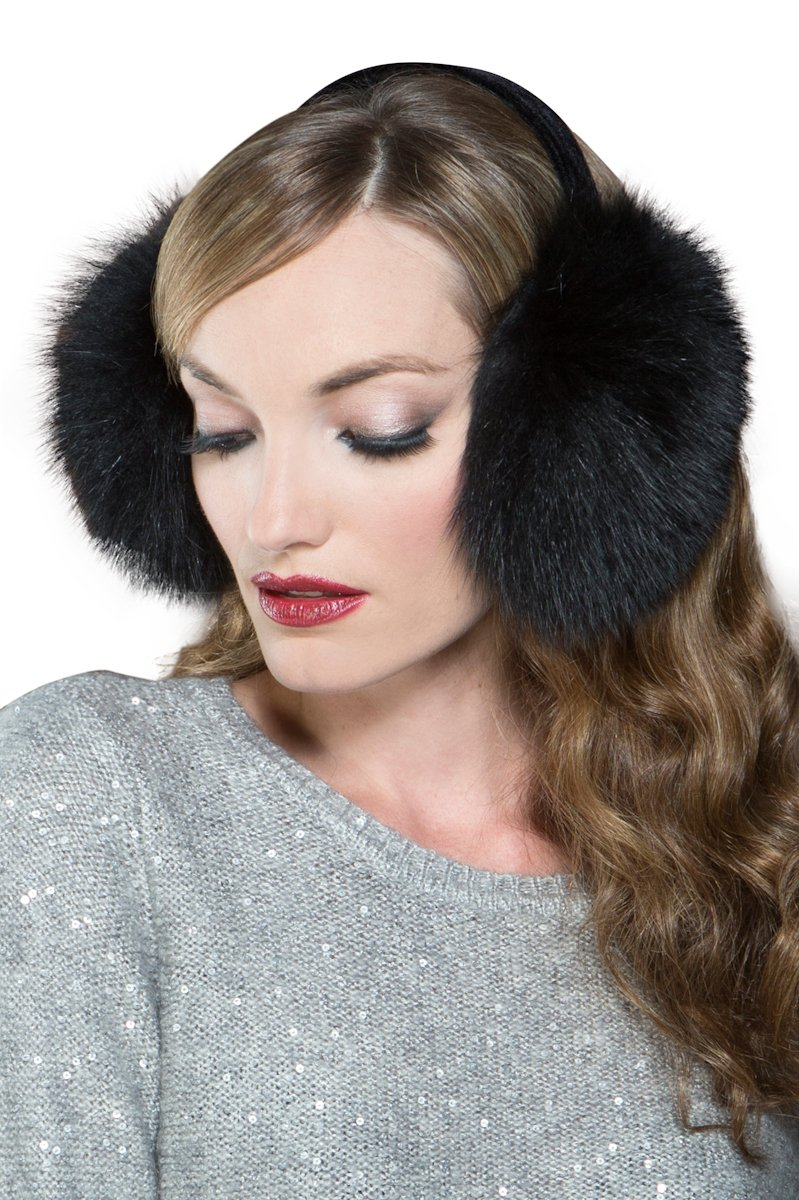 Lenore Marshall Women's Black Fox Fur Earmuffs