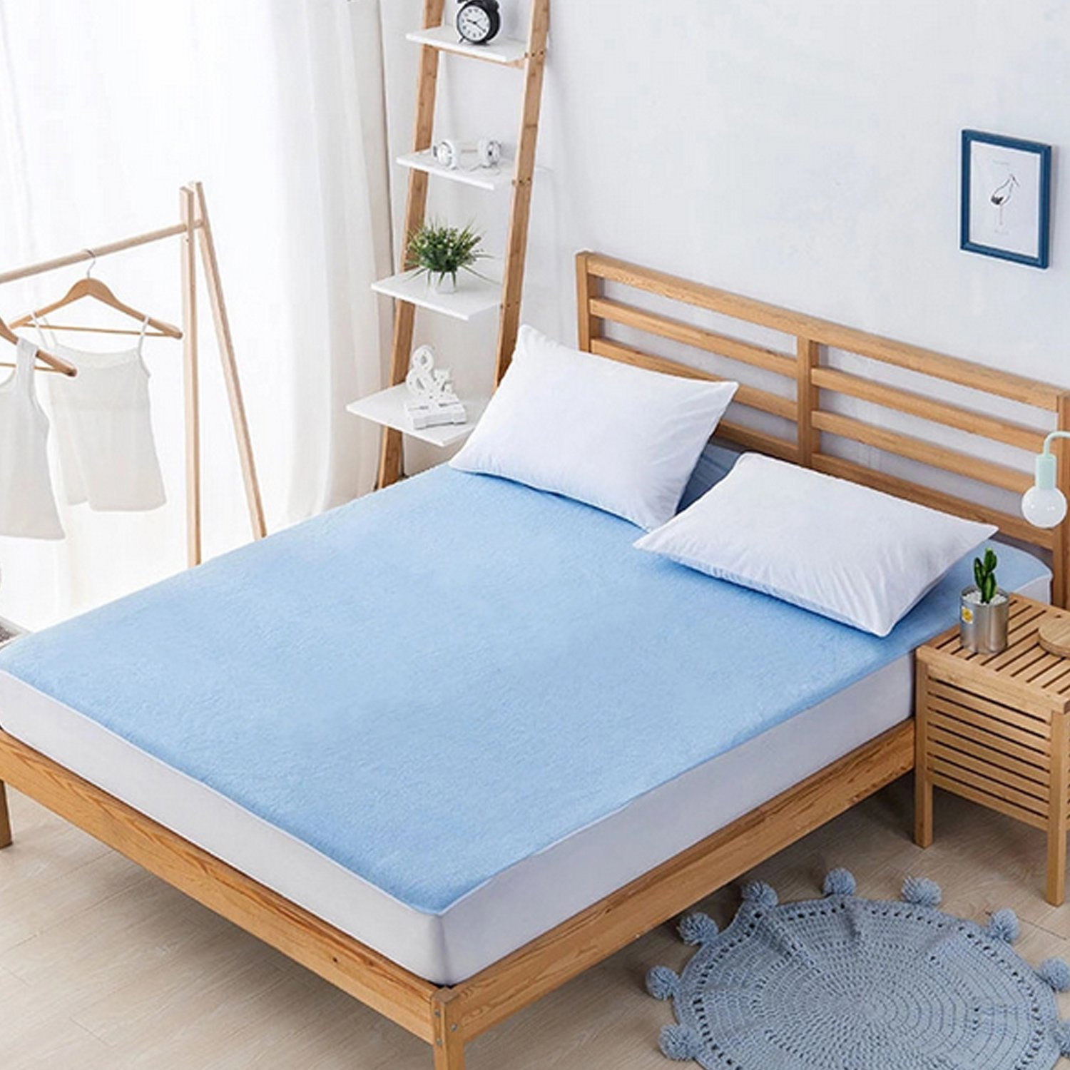 Migavan Cotton Breathable Anti-mite Mattress Protector Cover for Family Bedroom Hotel Dormitory 150x200x30CM Blue