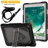 iPad 9.7 2018/2017 Case,iPad 6th Generation Cases[Shoulder Strap] 3 Layers Shockproof Soft Silicone Bumper Full-body Rugged Protective Case For Apple iPad 9.7 A1893/A1954 (gray)