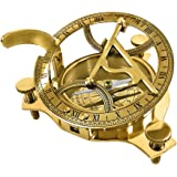 Redskytrader Real Simple A Handtooled Handcrafted Brass Sundial Compass W/Hardwood Box