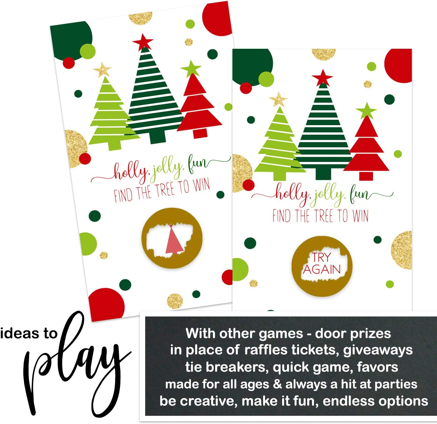 Amazon Com Jolly Trees Scratch Off Game Cards 30 Pack Christmas Party Supplies Holiday Event Activity Groups Kids Adult Festive Raffle Tickets Business Prize Drawings Red Green Gold Toys Games