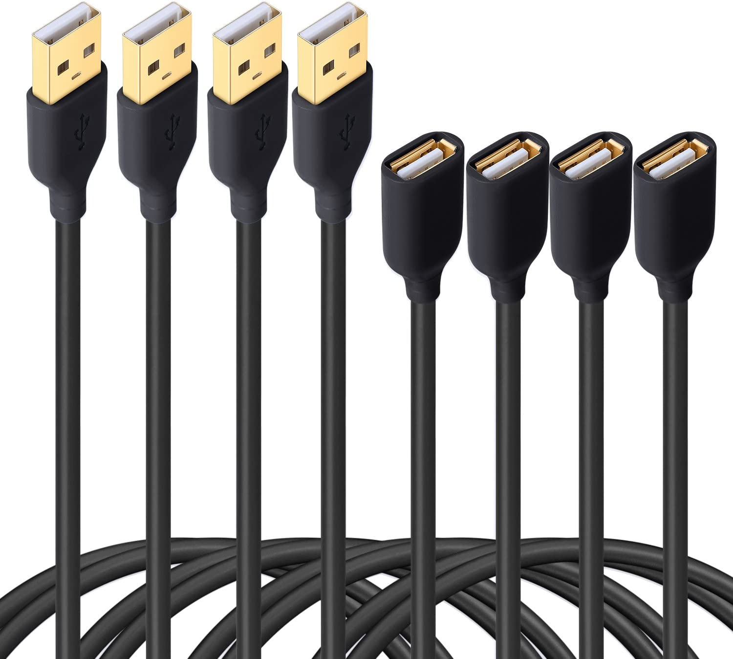 Besgoods 4-Pack - Durable 6ft/2m USB 2.0 Extension Cable A Male to A Female Cable Extender Cord for Keyboard, Mouse, Printer - Black