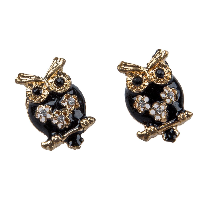 TOOGOO R Vintage Retro Black Gold Cute Owl Crystal Stud Earrings Accessory