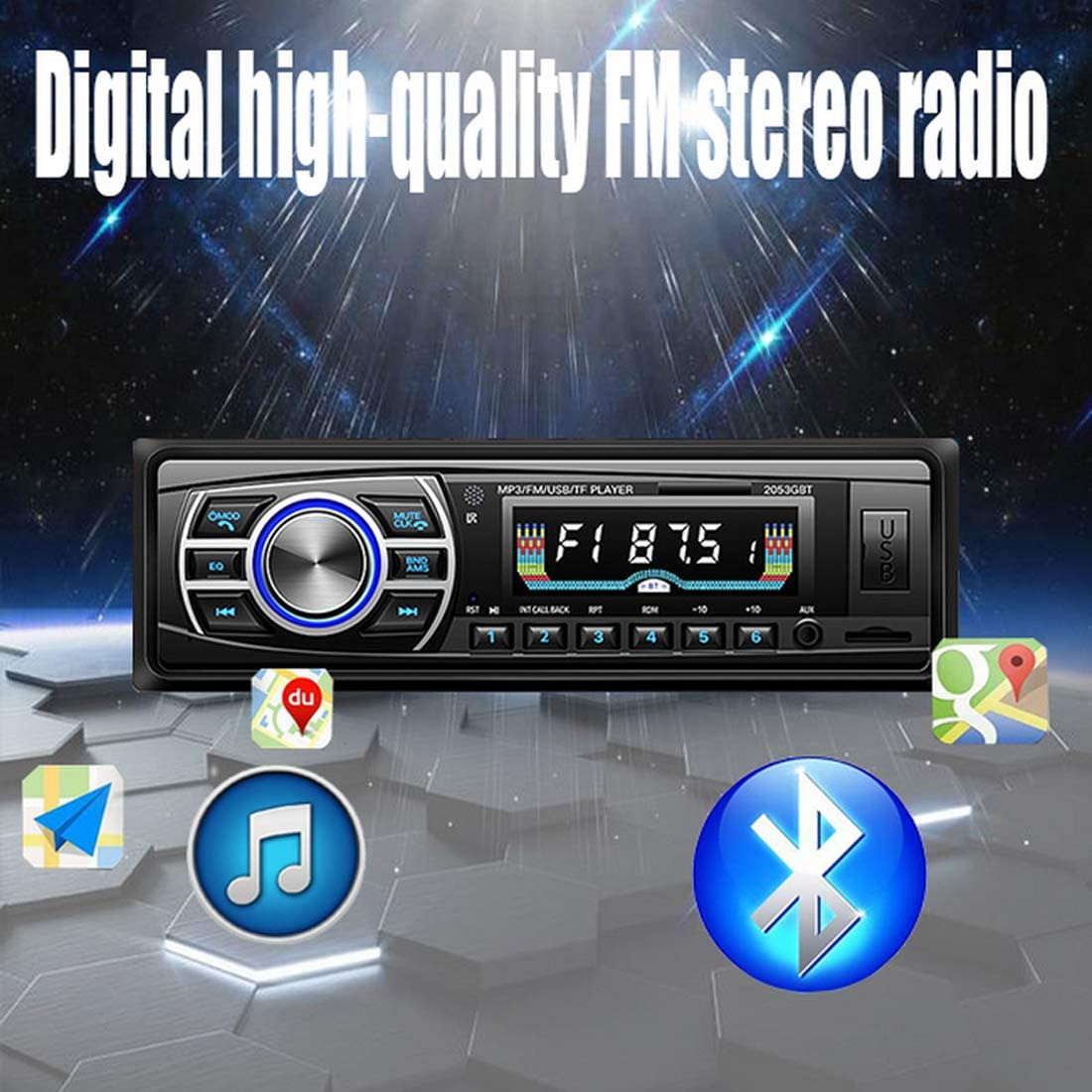 24V OLED Schermo a Colori Bluetooth FM Turner Aux-in Supporto Bluetooth Lettore di schede USB//SD//MMC Car MP3 Player 1DIN per ISO DONGMAO Autoradio 12V