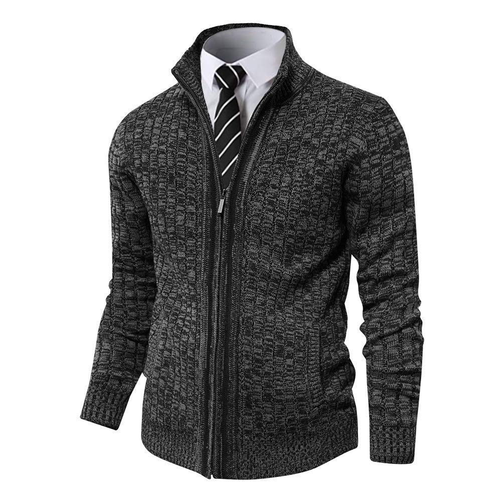 Pioneer Camp Men's Full Zip Up Sweaters Cardigan Stand Collar Slim Fit Casual Knitted Sweater with 2 Front Pockets (Dark Grey, XL) by Pioneer Camp