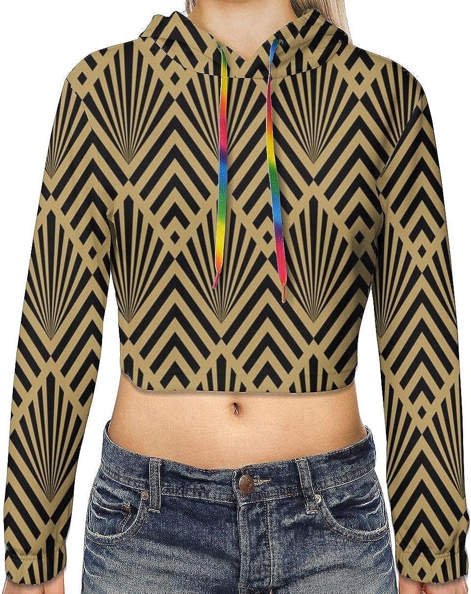 1920s Diamonds and Fans Large Womens Sports Long Sleeve Crop Hoodie Sweatshirt Top Pullover Hooded Sweatshirt