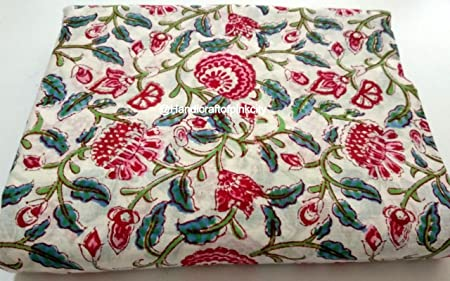 Indian Cotton Voile Fabric Floral Sewing Hand Block Print Craft By The Yard