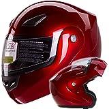 Metallic Wine Red Modular Flip up Motorcycle Helmet DOT #936 (XL)