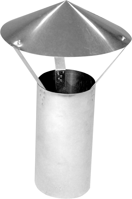 Kamino - Flam – Techo protector para tubos de chimenea (Ø 120 mm), Tapa contra la lluvia para estufas de leña, Protector para conducto de humos – resistente a altas temperaturas