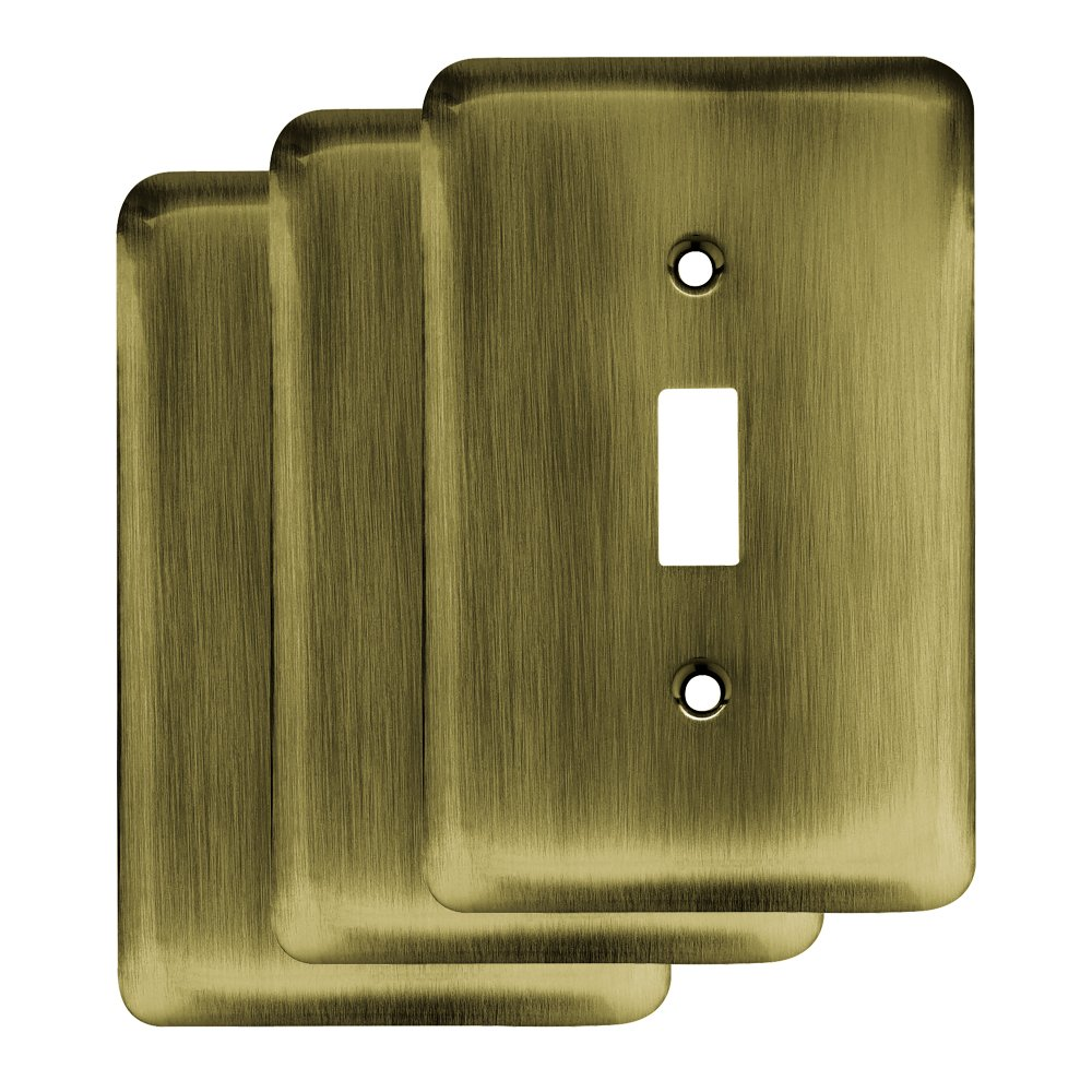 Franklin Brass W10245V-AB-R 64134 Stamped Steel Round Single Toggle Switch Wall Plate/Switch Plate/Cover (3 Pack), Antique Brass