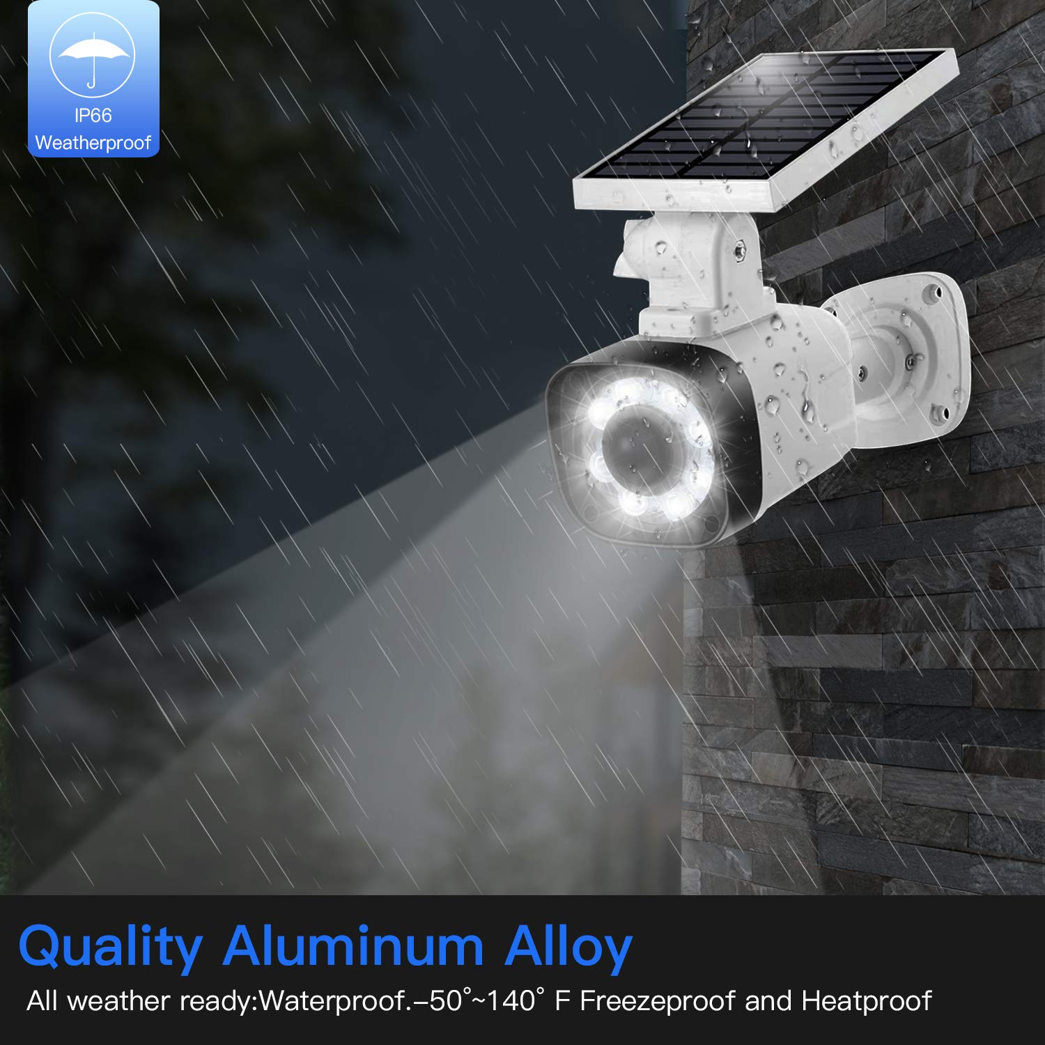 Solar Light Outdoor Motion Sensor - 3 Modes Selection, 20 in² Solar Panel IP66 Waterproof, 8 LED Spotlights w/800LM Security Flood Light for Garden Porch Driveway