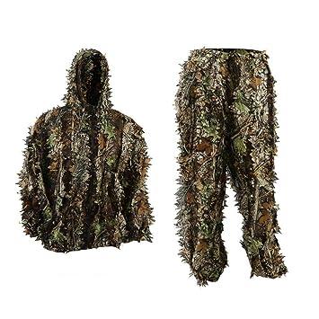 icase4u 3D camuflaje militar Ghillie Suit Ropa de caza Pantalla de tela de camuflaje Tacticle Pantalon Bosques Ghillie Traje (E): Amazon.es: Deportes y aire ...