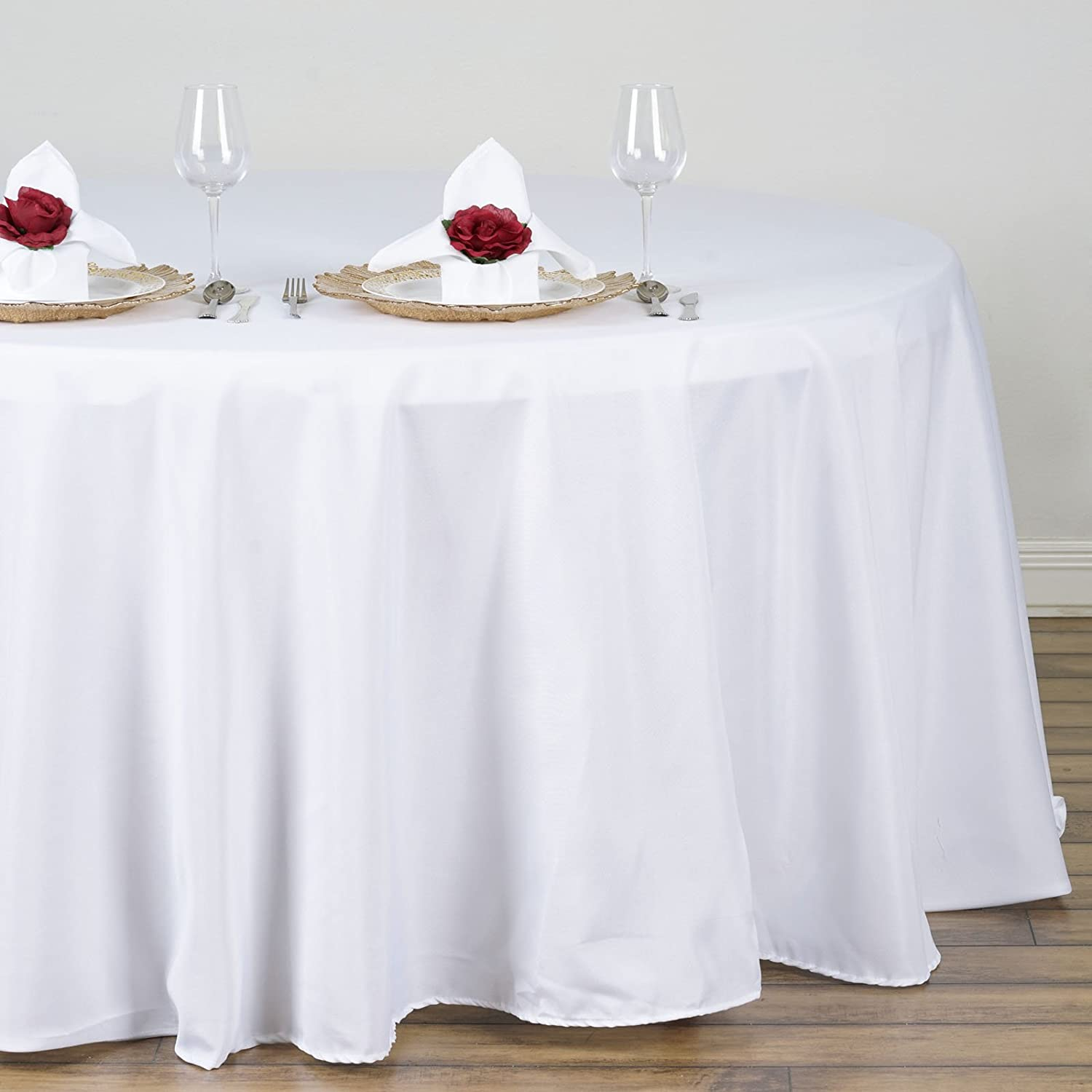 Amazon.com: LinenTablecloth 132 Inch Round Polyester Tablecloth White: Home  U0026 Kitchen