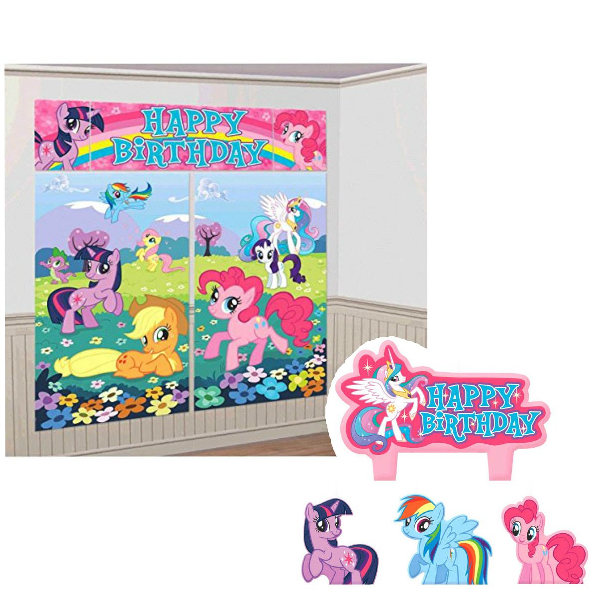 My Little Pony Birthday Cake Candle Set and Party Scene Setter Wall Decoration Bundle