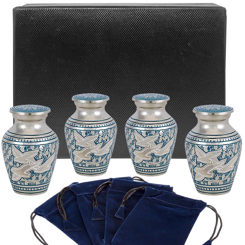 Wings of Love Small Keepsake Urns for Human Ashes - Set of 4 - Beautiful and Timeless Find Comfort Everytime You Look at These Mini High Quality Cremation Urns - with Case and 4 Velvet Bags by Trupoint Memorials