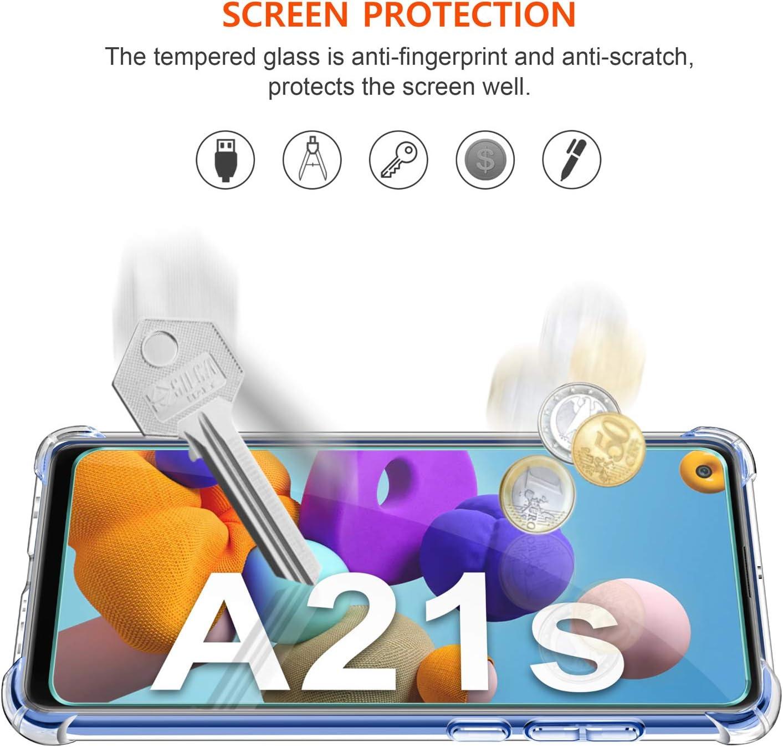 2 Pi/èces Verre tremp/é Protection /écran. WINmall Coque pour Samsung Galaxy A21S Shock-Absorption Bumper Housse Transparent Souple Silicone Coque pour Samsung Galaxy A21S AIR Cushion Protection