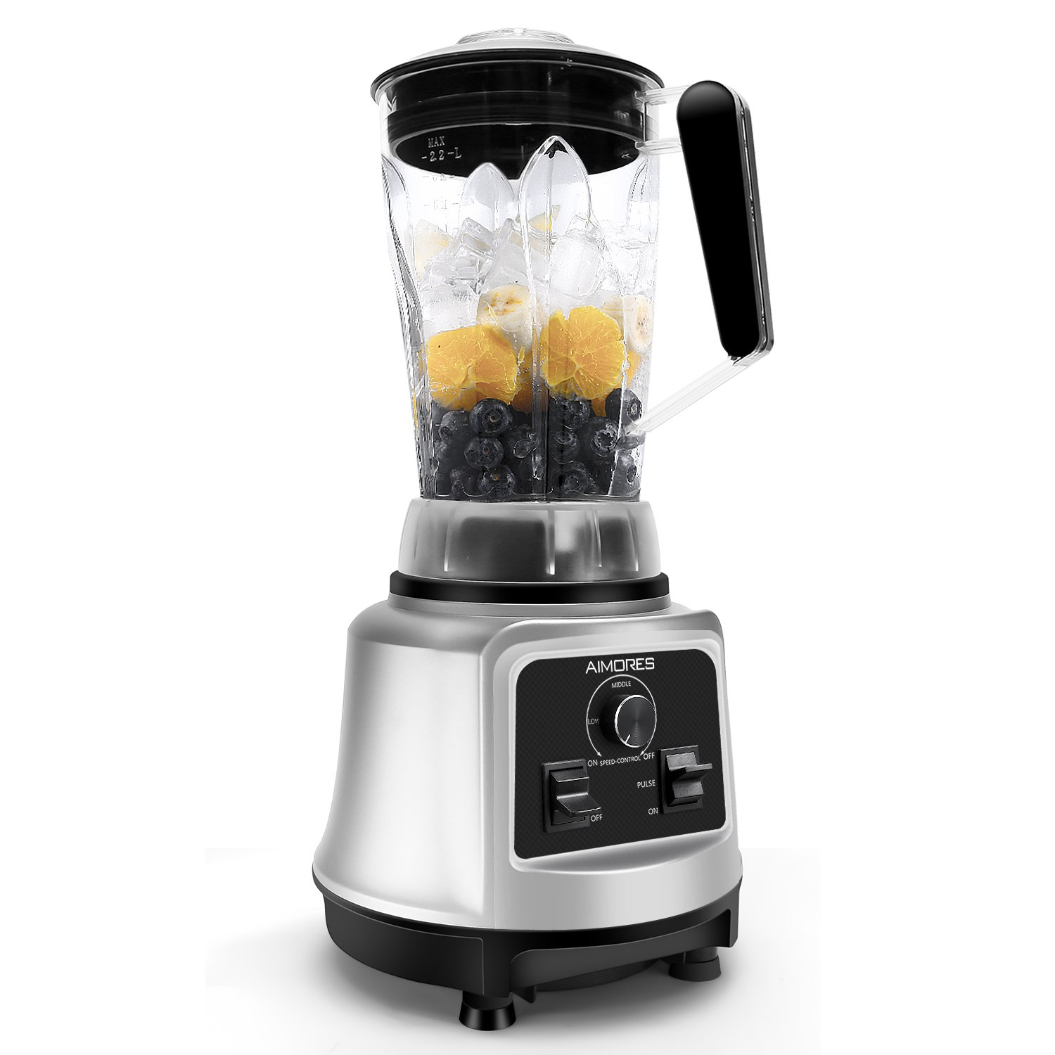 Professional Smoothie Blender Aimores | 750z High Speed Juicer, Ice Cream Maker | Optimized 6 Sharp Blades | Auto Clean & Simple Control | w/ Recipe & Tamper | ETL & FDA Certified (Silver)
