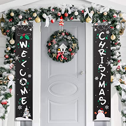 Amosfun Christmas Porch Sign Welcome Christmas Decor Hanging Banner For Front Yard Door Or Indoor Wall Window Fireplace Decoration Banner
