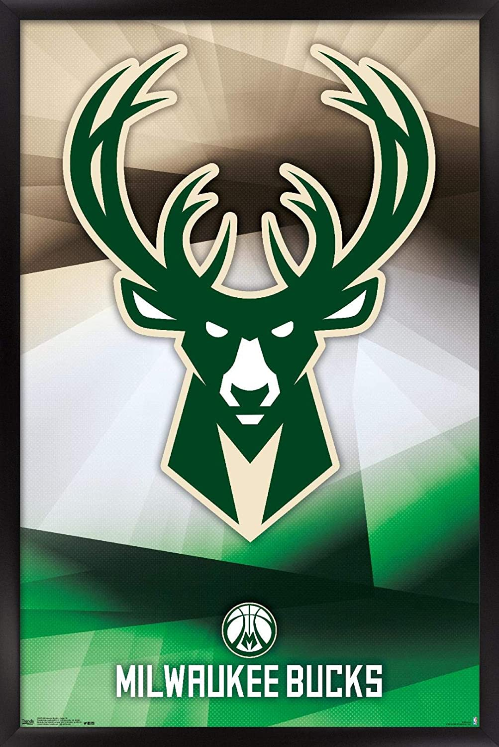 "Trends International NBA Milwaukee Bucks - Logo 16 Wall Poster, 22.375"" x 34"", Black Framed Version"