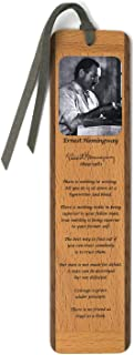 product image for Author - Ernest Hemingway Portrait and Quotes, Color Wooden Bookmark with Suede Tassel