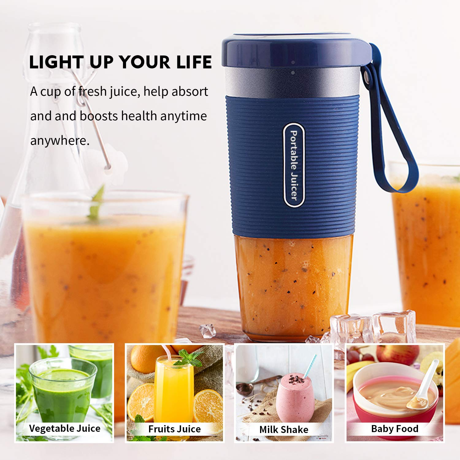 Portable Blender,DOUHE Cordless Mini Personal Blender Small Smoothie Blender USB Fruit Juicer Mixer -Home Outdoor Travel Office - USB Rechargeable,IP68 Waterproof,BPA Free by DOUHE (Image #4)