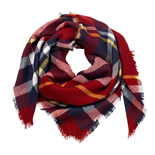 bcc3350e60c50 Amazon.com: Navy/Garnet Plaid Bridesmaid Blanket Scarf: Handmade