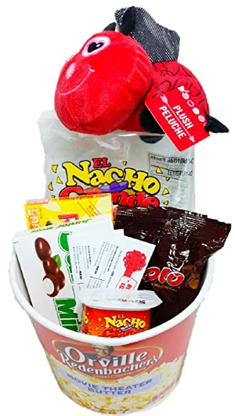 Valentines Day Movie Night Gift Basket ~ Includes Nachos and Cheese, Popcorn, Candy,
