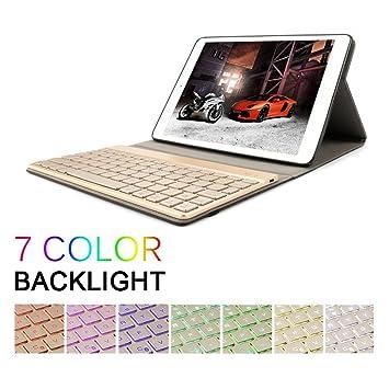 hbettertech iPad 9.7 caja del teclado, soporte de tres pliegues PU Case Cover con Desmontable magnético ...