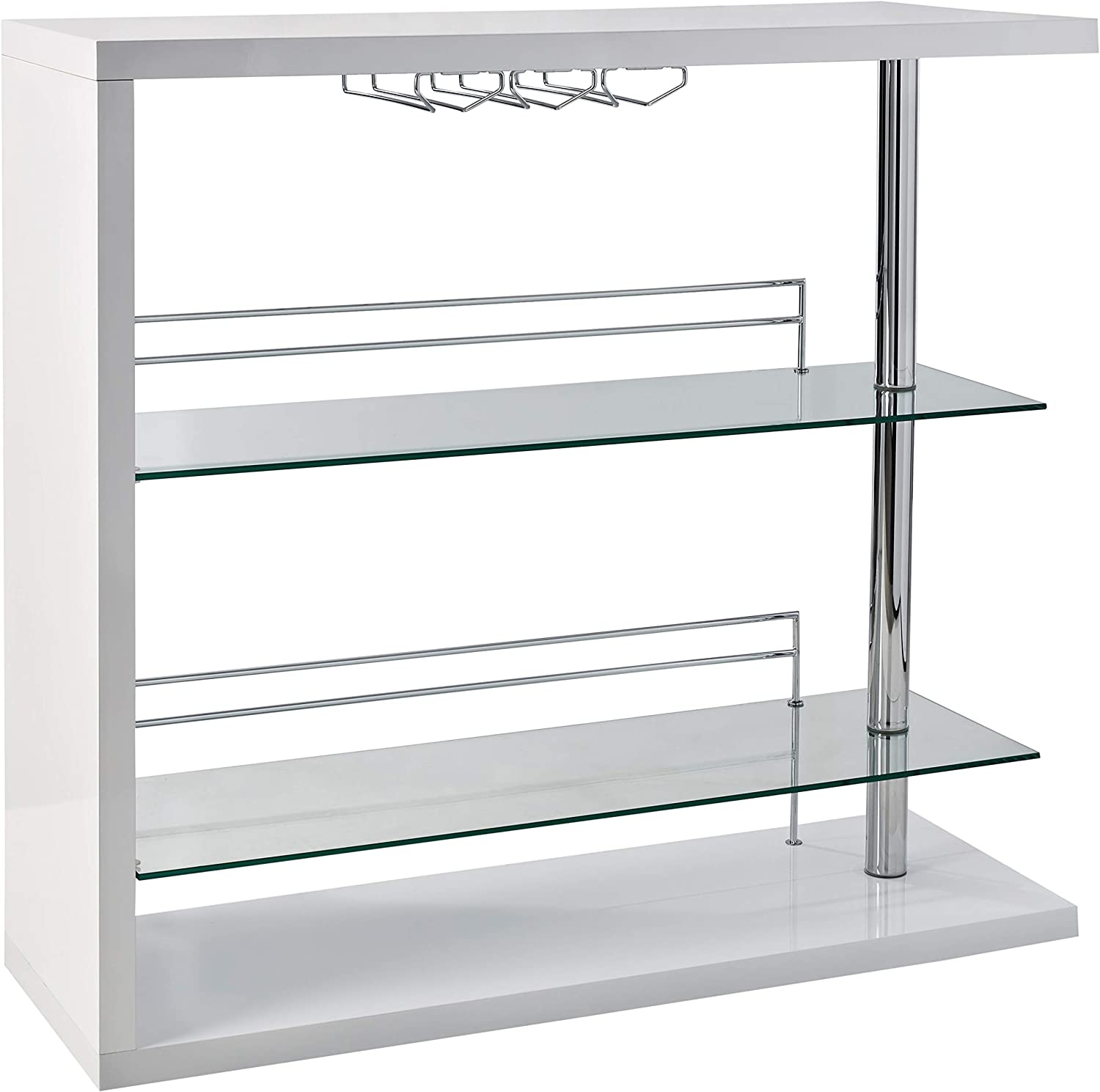 Rectangular 2-shelf Bar Unit with Wine Holder Glossy White, Chrome and Clear