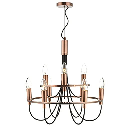 Home collection zach copper metal and black chandelier light home home collection zach copper metal and black chandelier light aloadofball Gallery