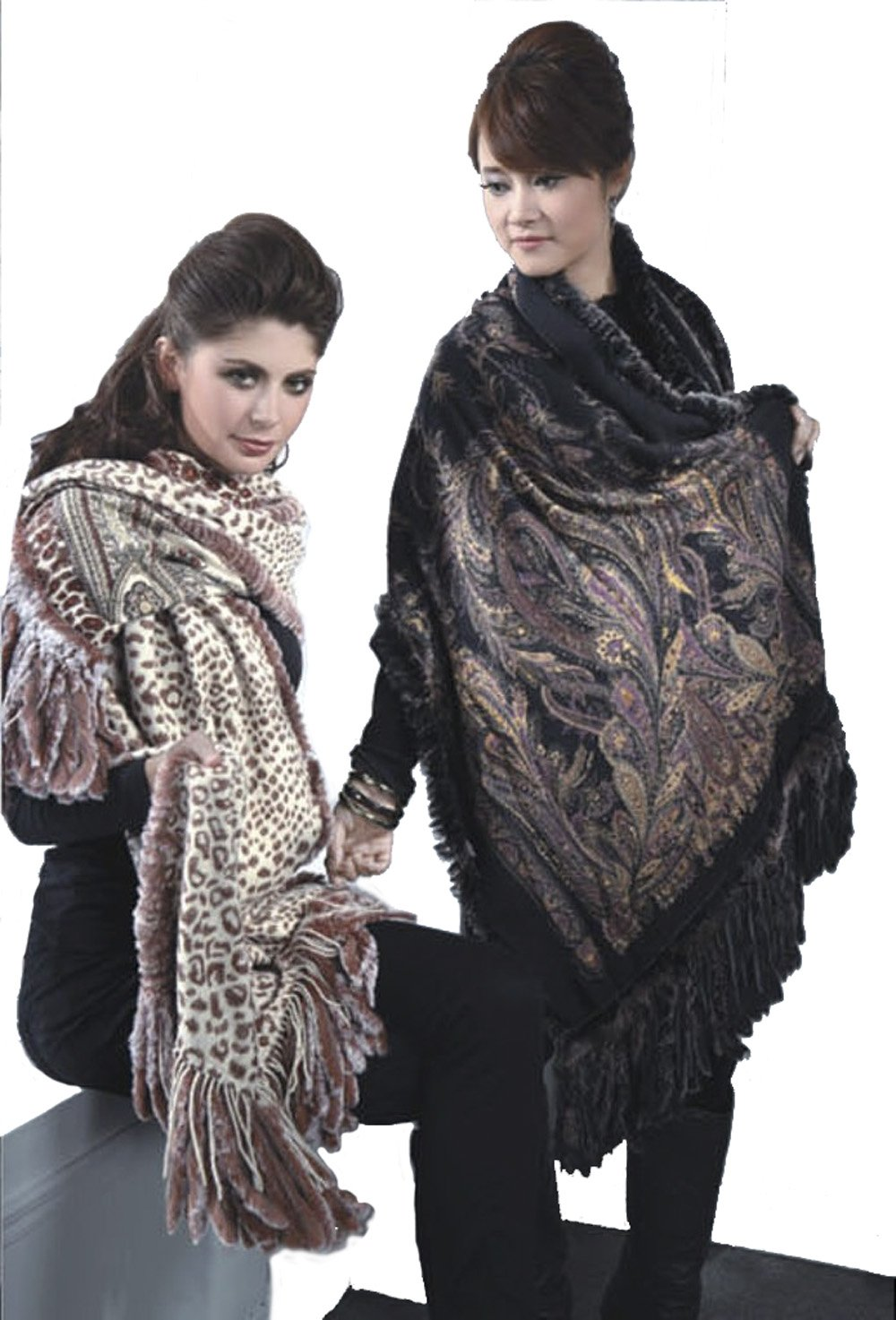 Cashmere Pashmina Group-Cashmere Shawl Scarf Wrap Stole (Solid/ Reversible Print w/ Genuine Fur) - Black