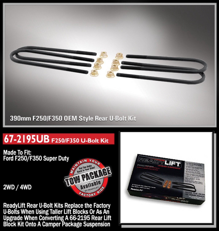 ReadyLift 67-2195UB U-Bolt Kit 390 mm, Ford Super Duty F250//F350 4WD 1999-2010