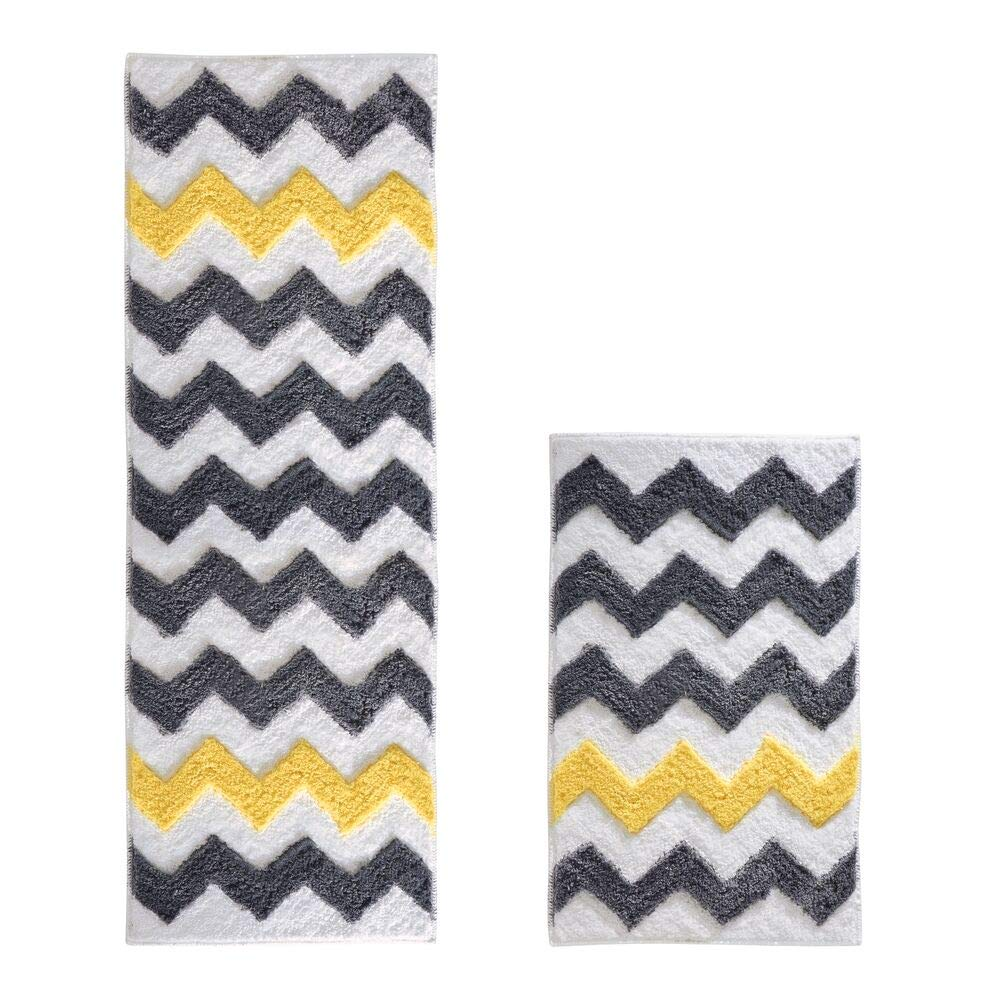 mDesign Soft Microfiber Non-Slip Bathroom Mat/Rug Set for Vanity, Bathtub/Shower, Dorm Room - Set of 2, Gray/Yellow