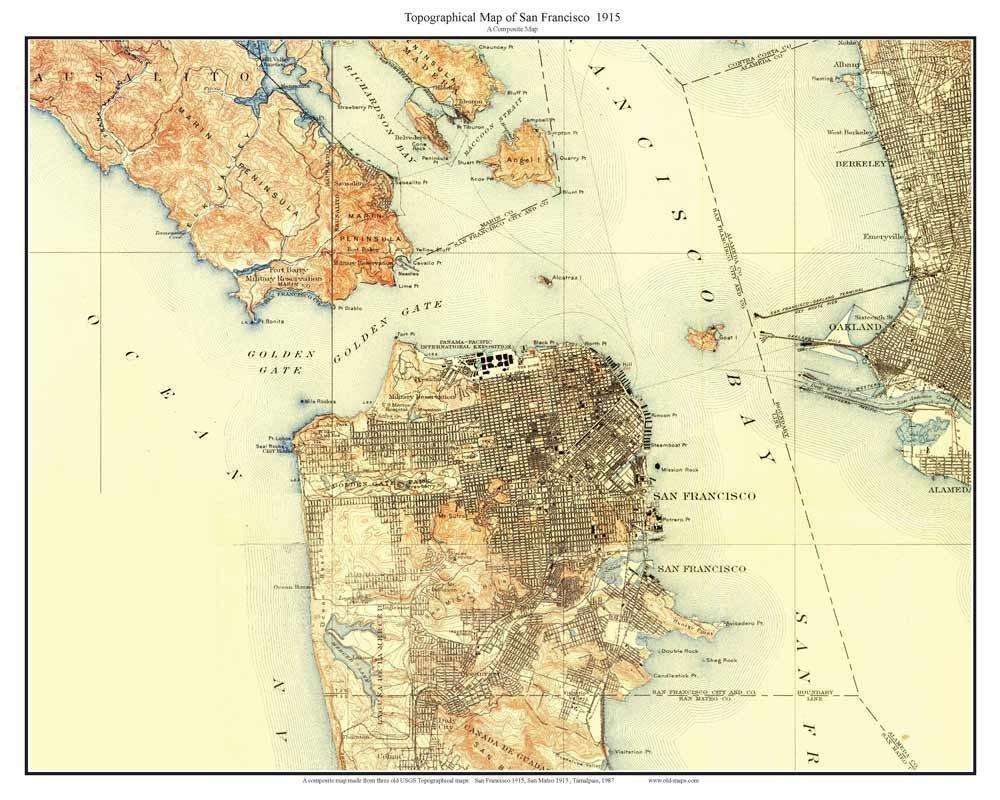 Amazon.com: San Francisco 1915 Custom USGS Old Topo Map - The City ...