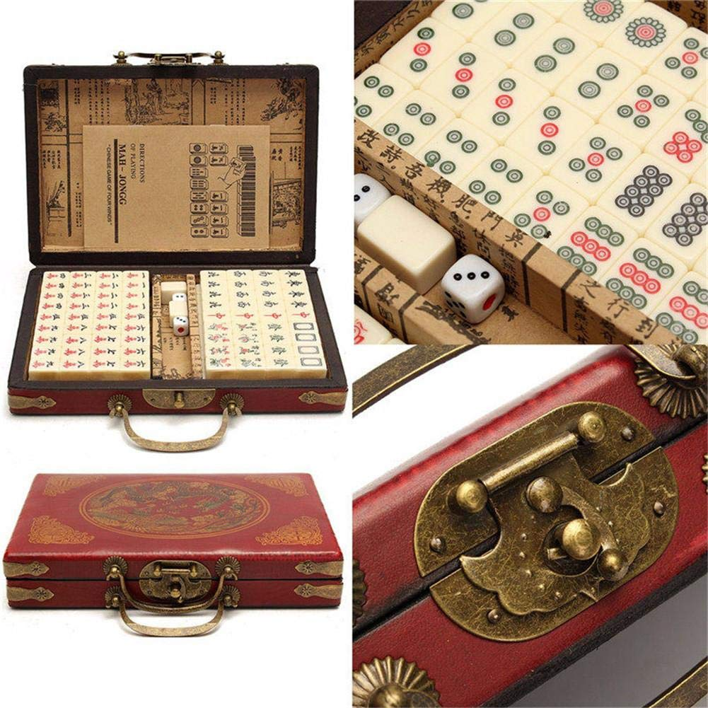 port/átil de Viaje Mah Jong con Caja de Cuero arca/ísta y Manual en ingl/és Juegos Tradicionales Mahjong Club Set GSNML Juego de 144 Piezas Mah Jongg