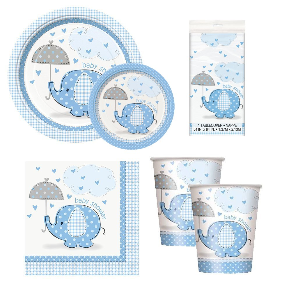 Elephant Baby Shower Party Package - Serves 16 (Blue)