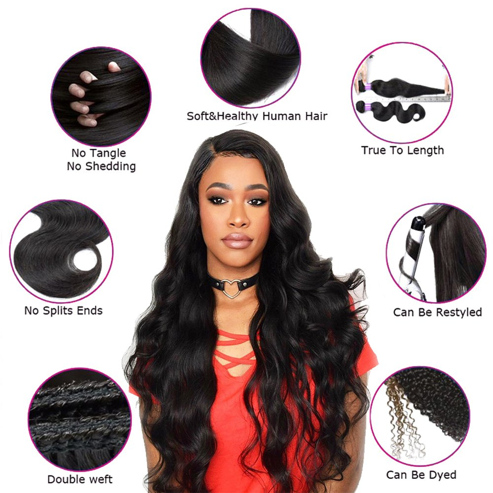 360 Lace Frontal with Bundles Pre Plucked 8A Brazilian Virgin Hair Body Wave 3 Bundles with Closure Bady Hair 100% Unprocessed Human HairExtensions Natural Color(14 16 18+12 360Frontal) by Free Queen (Image #3)