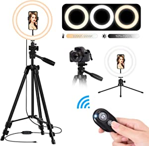 10'' LED Selfie Ring Light with Tripod Stand and Phone Holder, TBJSM Dimmable Desktop Circle Light for Makeup/Photography/YouTube Video Shooting, Compatible with Phones and Cameras (2Pcs Tripod Stand)